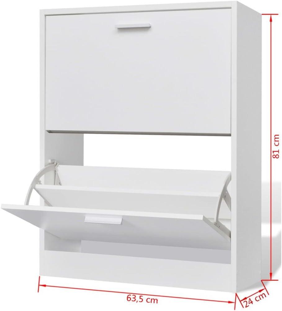 vidaXL Scarpiera con 2 Scomparti in Legno Bianco Salvaspazio Porta Scarpe