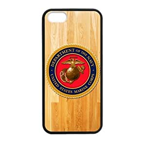Wood Look US Marine Corps USMC Logo Iphone 5 5S(TPU) High Quality Cover Case