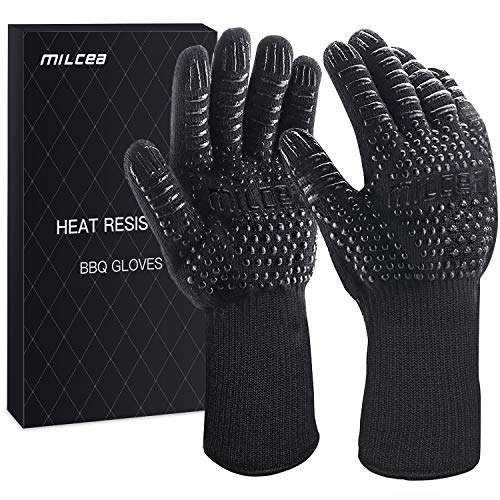 MILcea BBQ Gloves 1472° F Extreme Heat Resistant Gloves for Grill, Cooking Grill Gloves, for Handling Heat Food Right on Your Fryer, Grill or Oven. Waterproof, Fireproof, Oil Resistant (Black)