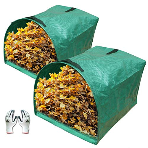 Gardzen 2-Pack Large Yard Dustpan-Type Garden Bag for Collecting Leaves - Reuseable Heavy Duty Gardening Bags, Lawn Pool Garden Leaf Waste Bag - 53 Gallon Per Bag, Come with Gloves ()