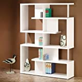Alternating shelves design room divider white finish wood modern styling slim line bookcase shelf unit