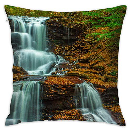 TRK-KWQDF Waterfalls Cascade & Foliage Throw Pillows Covers for Couch/Bed 18 X 18 Inch, Print for Textile Wallpaper Pattern Home Sofa Cushion Cover Pillowcase Gift Bed Car Living Home ()