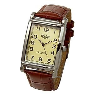 Eriksen Reloj de vestir de cuarzo analógico rectangular para hombre Correa de cuero MCS