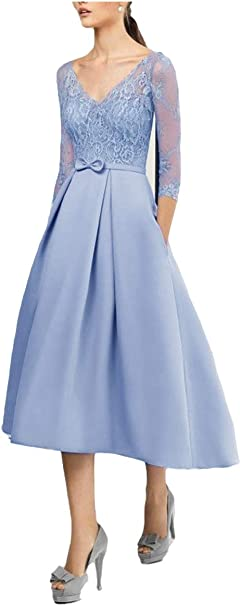 Shinegown Elegantes Kleid Fur Brautmutter Fur Hochzeit 3 4 Armel Cocktail Outfit Satin Amazon De Bekleidung