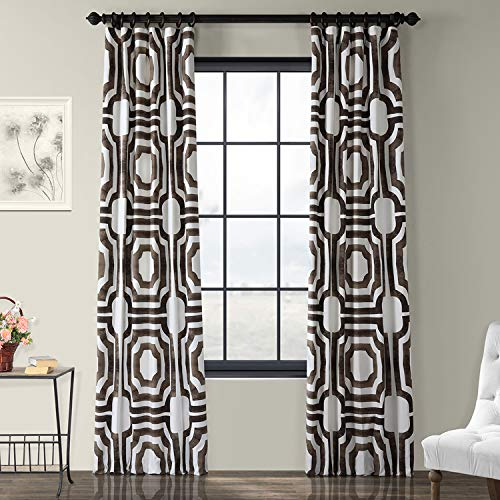 (Half Price Drapes PRTW-D23-108 Mecca Printed Cotton Curtain, 50 x 108, Brown)