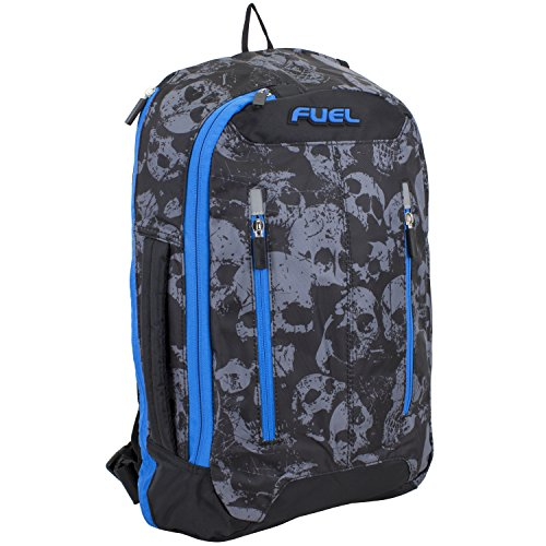 - Fuel Universal Single Strap Crossbody, Black/Gray/Blue - Skull print