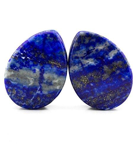 Gauge Lapis Natural Stone - Genuine Lapis Lazuli Teardrop Plugs Organic Natural Polished Stone Ear Gauges (16mm (5/8)/1217)
