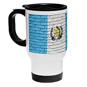 High Quality White Stainless Steel Coffee / Travel Mug - Flag of Guatemala (Guatemalan) - Bricks