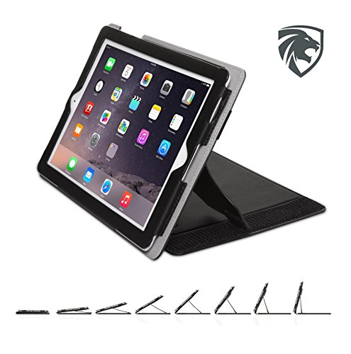 ZOOGUE Case Genius Pro iPad 4, iPad 3 and iPad 2 Case - Leather Case Cover and Flip Stand with Elastic Hand Strap and Premium Micro Fiber Interior. Automatically Wakes and Puts the iPad 4, 3 & 2 to Sleep (BLACK) (Premium Leather Case Cover)