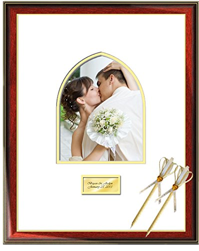 b202e8a45fd Wedding Signature Picture Frame with Guestbook Persian Arch 8W x 10H  Portrait Photo - Premium Wood Glossy ...