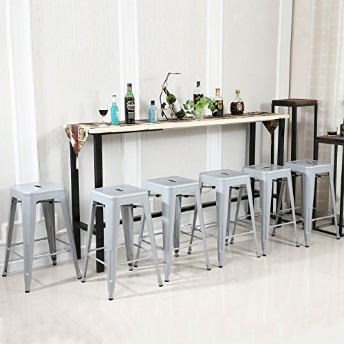 Belleze 30-inch Metal Bar Stools, Modern Barstool Stool Chair (Set of 6) (Aqua Stacking Chair)