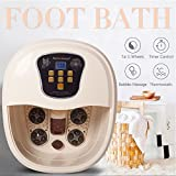 Natsukage All in One Foot Spa Bath Massager with Lockable Caster Motorized Rolling Massage Heat Wave Digital Temperature Control LED Display