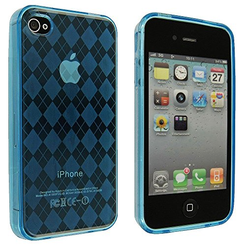 TPU Rubber Skin Case Cover for Apple iPhone 4 4G 4S (Checker Blue) ()