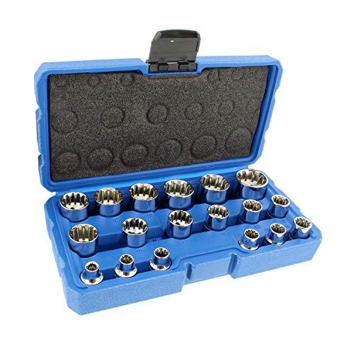 (ABN | Universal Spline Socket Set - 18 Piece Metric Socket Tool Set, 3/8