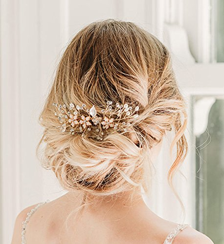 SWEETV Rose Gold Bridal Hair Comb Clip - Rhinestone Headpieces Wedding Hair Accessories For Women, Girl, Bride