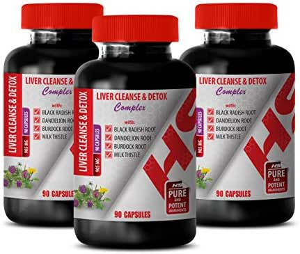Herbal Liver Tonic - Liver Cleanse & Detox 905 MG Complex - Dandelion Root Alcohol Free - 3 Bottles 270 Capsules