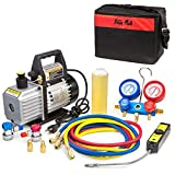 XtremepowerUS Premium 4CFM Air Vacuum Pump HVAC A/C Refrigeration Kit AC Manifold Gauge Case Set w/Leak Detector and Carrying Tote Bag