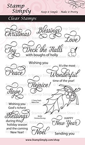 Stamp Simply Clear Stamps Christian Religious Christmas Blessings 4x6 Inch Sheet - 16 Pieces