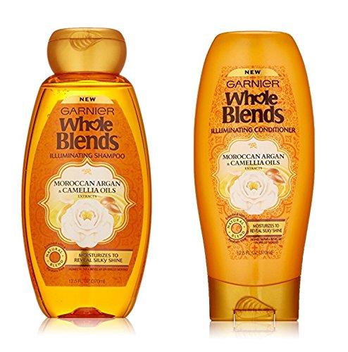 Garnier Whole Blends Illuminating Moroccan Argan Shampoo Conditioner Set 12.5 Ounce (White Camellia Coconut Shampoo)