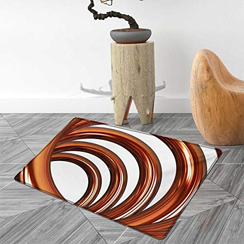 Abstract Door Mats Area Rug Helix Coil Curved Spiral Pipe Swirled Shape on White Backdrop Print Floor mat Bath Mat for tub 2'x3' Dark Orange and White