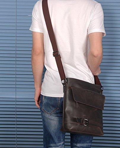 de tenis oscuro auténtica colgado para del con piel para raquetas compartimento brazo marrón Zarapack hombre bolsa Monedero correa de Rzv7Uqwq