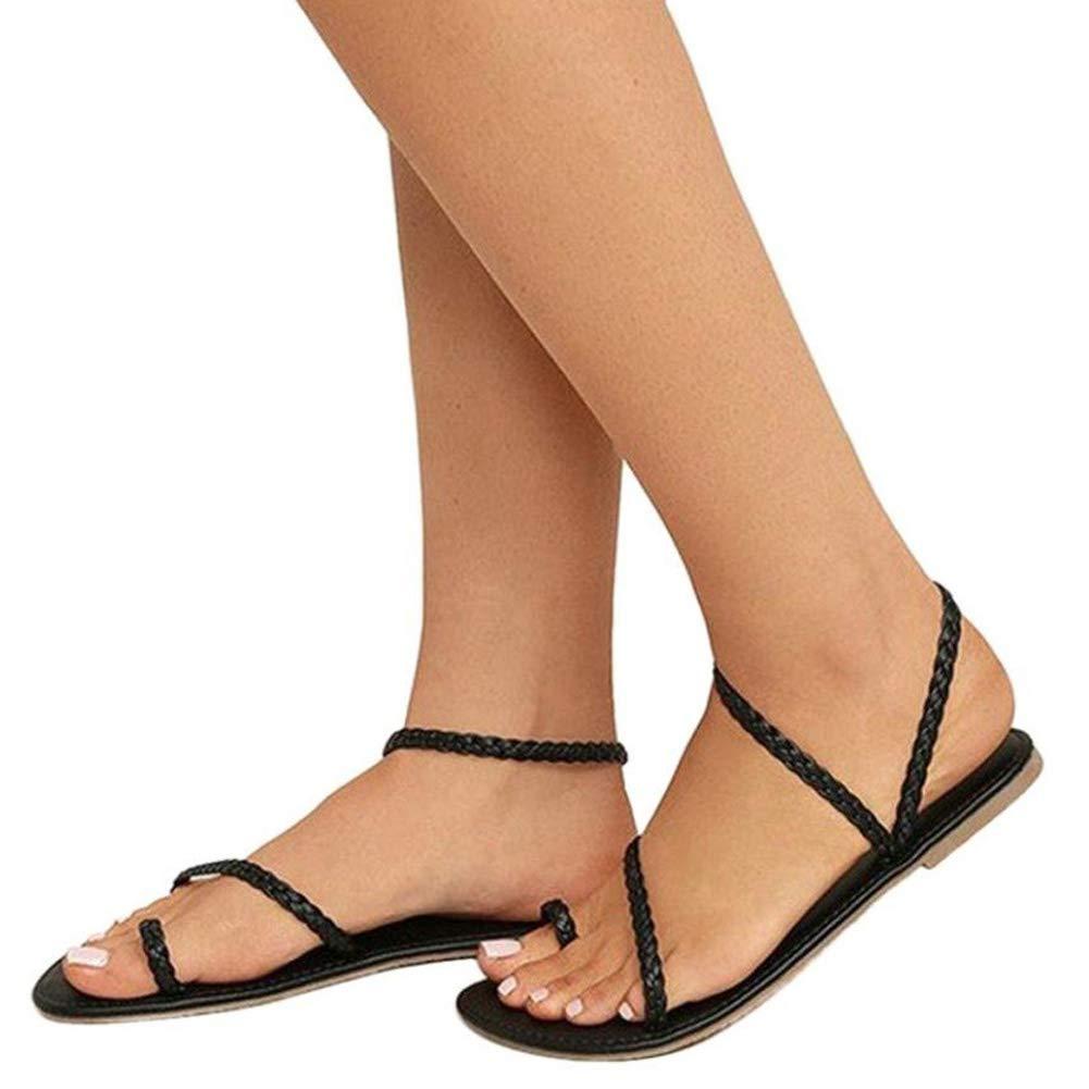 Minetom Sandali Donna Eleganti Tacco Gladiatore di Roma Sandals Moda Estivi Tacco Eleganti Basso Clip Toe T-Strap Treccia Intrecciata Piatto Infradito ScarpeNero c0ee74