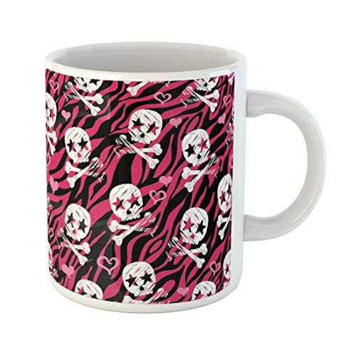 Semtomn Funny Coffee Mug Punk Seamless Zebra Star Skull Print Repeating Background Wallpaper Pattern 11 Oz Ceramic Coffee Mugs Tea Cup Best Gift Or -