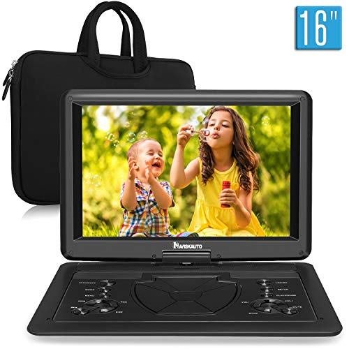 NAVISKAUTO 16 Inch Portable DVD Player with HDMI Input Rechargeable Battery Free Carry Bag, Support Sync Screen AV in…
