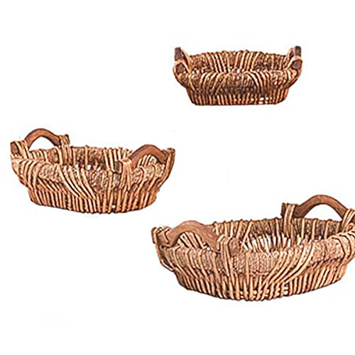 Group Of 3 Oval Maize and Willow Trays (Set of 10) by suppliesforgiftbasket