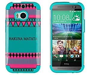 DandyCase 2in1 Hybrid High Impact Hard Hakuna Matata Aztec Tribal Pattern + Teal Silicone Case Cover For HTC One M8 (2014 release) + DandyCase Screen Cleaner by Maris's Diary