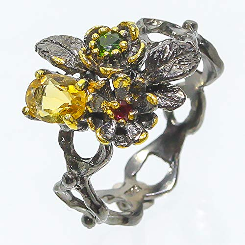 Charming Flower Design Natural 7x5 Citrine 925 Sterling Silver Ring Size 7 8 9