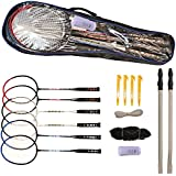 Python Ultimate Badminton Starter Set (Kit)(+2 Bonus Racquets/6 Total, Net & Poles)