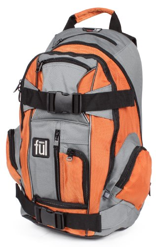 ful Unisex Adult Overton Backpack (Orange-Gray, 20 x 12 x 7.5-Inch)