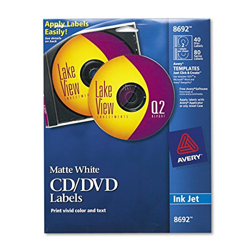 Cd Label Maker - Avery CD Labels, Matte White, 40 Disc Labels and 80 Spine Labels (8692)