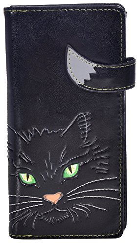 Cats Tickets (Shag Wear Women's Animal Inspired Large Zipper Wallet Fluffy Cat Black)