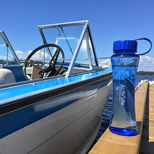 Beautiful BPA Free Blue Water Bottle Best for Women and Ladies Who Love Hiking, Biking, Fitness Training, Spinning, Pilates or Yoga Workouts Made in USA