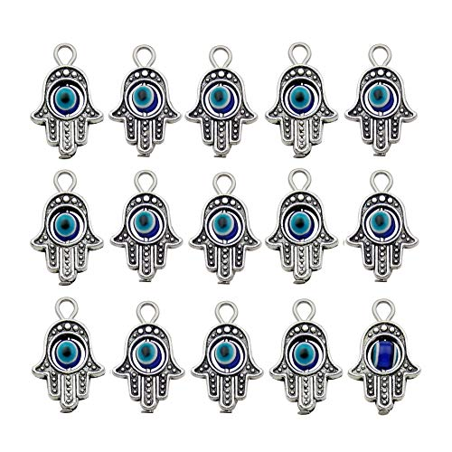WOCRAFT 30PCS Antique Silver Hamsa Hand Evil Eye Bead of Fatima Symbol Charms Hamsa Hand Beads Frame Charms for Jewelry Making Findings DIY Necklace Bracelet M335 -