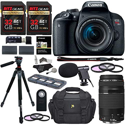 Canon EOS Rebel T7i Digital SLR Camera 18-55mm STM Lens + Canon EF 75-300mm III Lens + Ritz 64GB + 60″ Tripod + Filter Kit + Bag + Microphone + Accessory Bundle