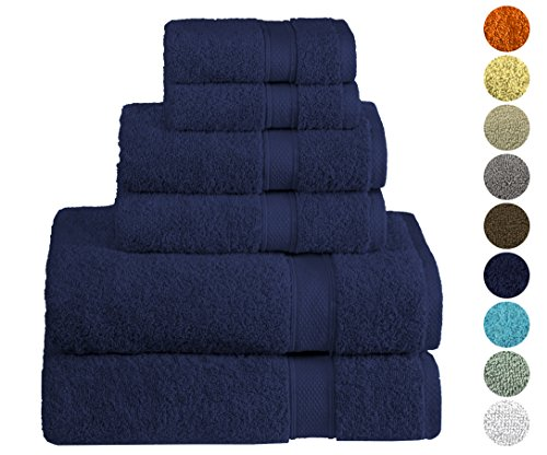 Hotel & Spa Quality, Absorbent and Soft Decorative Kitchen and Bathroom Sets, 100% Cotton 600 GSM, 6 Piece Turkish Towel Set, Includes 2 Bath Towels, 2 Hand Towels, 2 Washcloths, Ocean Blue