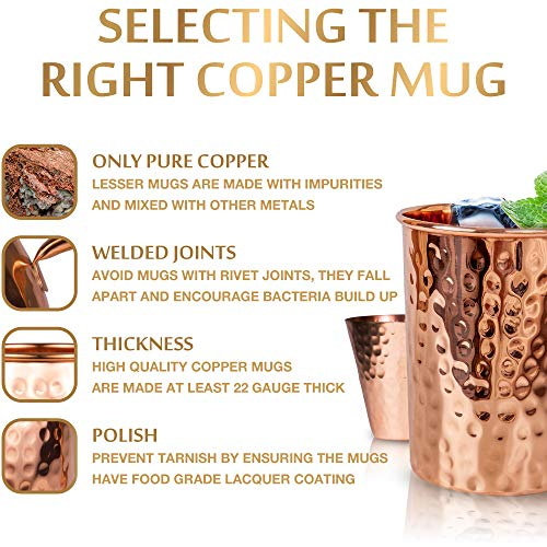 Moscow Mule Copper Mugs Set :4 16 oz. Solid Genuine Copper Mugs : Cylindrical Shape : Handmade in India, 4 Straws, 4 Wood Coasters, Shot Glass : Comes in Elegant Gift Box, by Yooreka by Yooreka (Image #5)