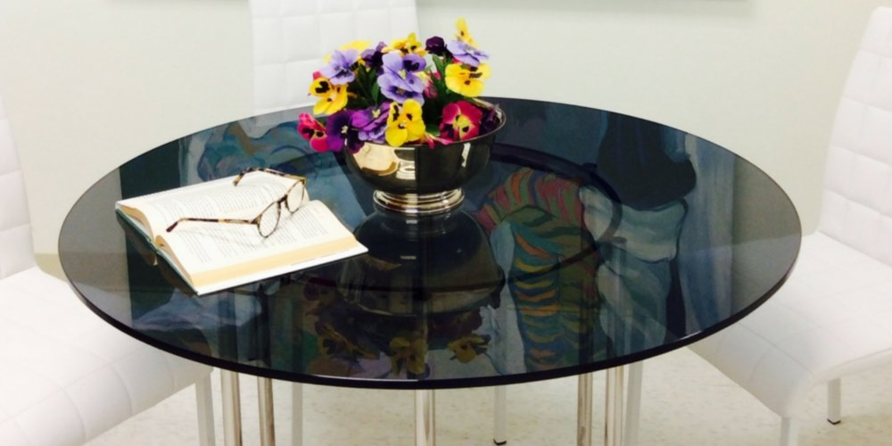 Round Grey Tempered Glass 1/2'' Thick Table Top (24'')