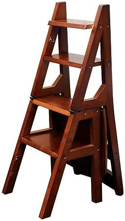 Zfggd Escalera con 4 Pasos, Escalera de Mano, Carne, Taburete de Madera, Sillas for sillas de Comedor, la Herramienta de jardinería doméstica, Heavy Duty, MAX.150 Kg En Brown: Amazon.es: Hogar
