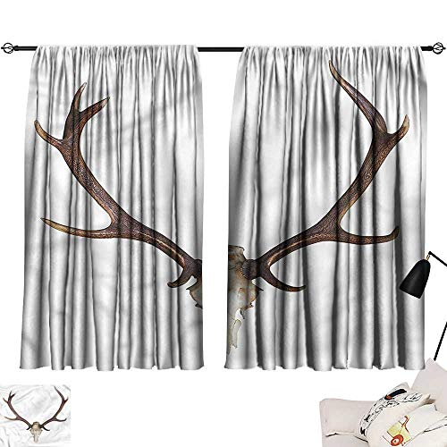 Jinguizi Privacy Assured Window Treatment Darkening Curtains Antlers,Antlers Skeleton Hunter,Curtains,Extra Curtain Doorway W108 x -