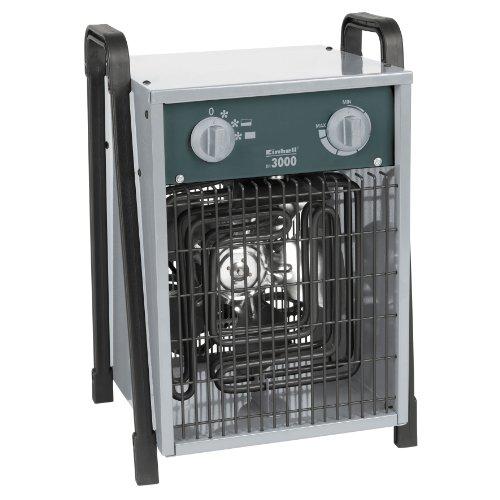 Einhell Elektro Heizer EH 3000 (3000 Watt, 2 Heizstufen und Ventilatorbetrieb, Thermostat, Spritzwasserschutz, Tragegriff, robustes Gehäuse)