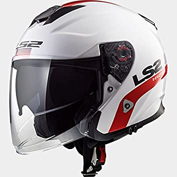 57-58cm LS2 OF521 Infinity Smart Double visi/ère Casque Jet Casque Moto Scooter Blanc Rouge M