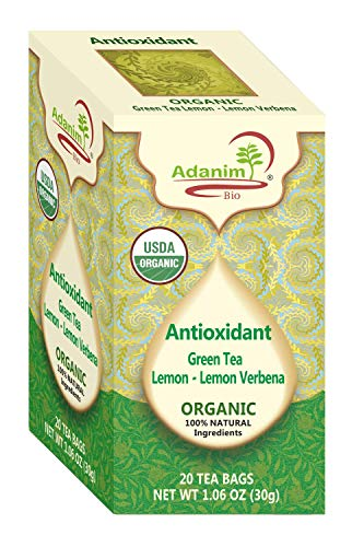 (Adanim Bio Organic Green Tea with Lemon and Verbena, Antioxidant Rich with Caffeine, 20 Count, Pack of 4, 80 Individual Enveloped Hot Tea Bags in Total)