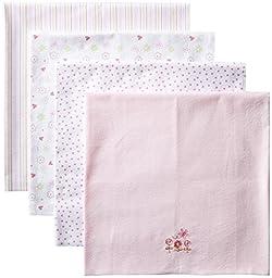 Spasilk Baby-Girls Newborn 4 Pack 100% Cotton Flannel Receiving Blanket, Pink Butterfly/Flowers