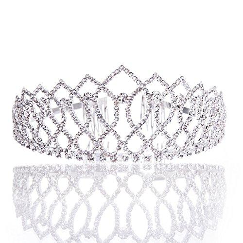 Wedding Coronal Tiara Rhinestones Crystal Bridal Headband Pageant Silver Princess Crown