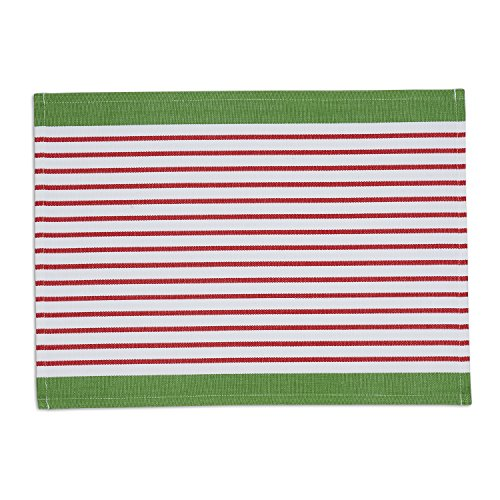 DII Washable Ribbed Cotton Placemat, Set of 6, Candy Apple Stripe - Perfect for Fall, Dinner Parties, BBQs, Christmas, Weddings and Everyday Use
