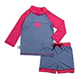 JAN & JUL Kids Rash Guard UPF 50 Sun Protection Shirt Shorts Set (Set XL: 3-5Y, Whale)